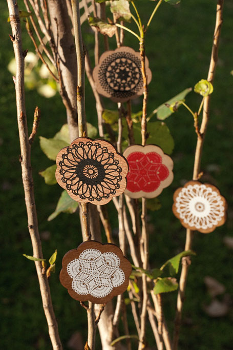 Wooden Doily Brooches by States of Nature