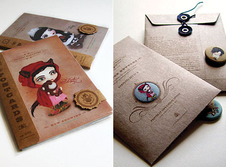 Postcards and Buttons by Akina