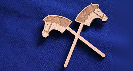Hobby Horse Etched Wooden Brooch by Allira Tee