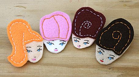 Felt Lady Badges by Anna Laura