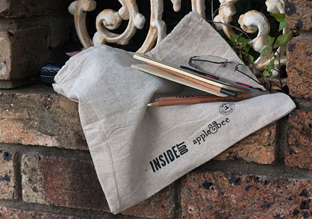 Apple and Bee collaboration with InsideOut Magazine - hemp bag organiser designed by Grace Lee.