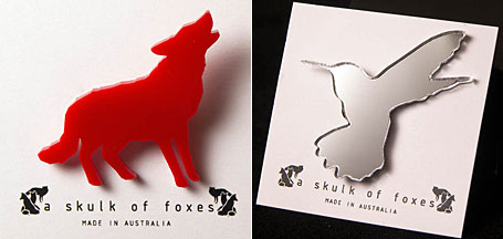 Wolf Red Acrylic Brooch and Hummingbird Mirror Acrylic Brooch by Melbourne designer Natalie Cirillo of A Skulk of Foxes