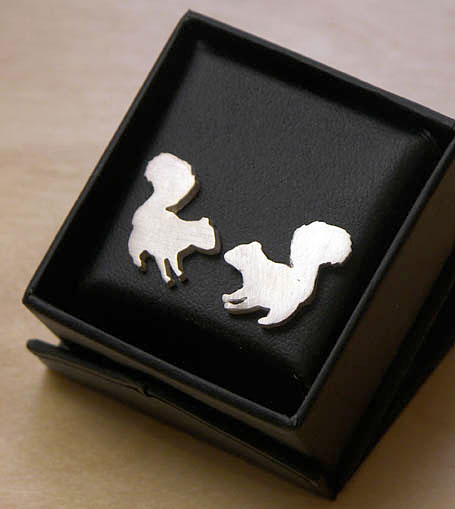 Silver Squirrel studs by Melbourne designer Natalie Cirillo of A Skulk of Foxes