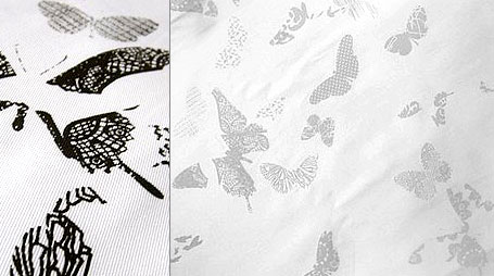Aunty Cookie Limited Edition Butterflies Screen Printed Fabric in black and light grey on white cotton drill