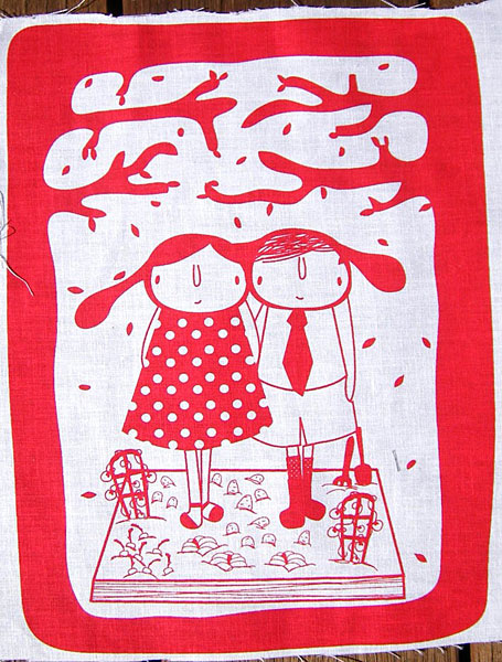 In The Garden Red linen print by Aunty Cookie