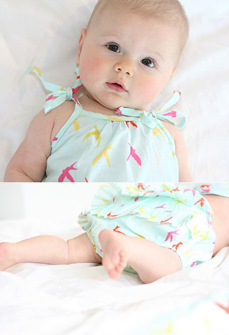 Buttermilk baby wear in Swallow print