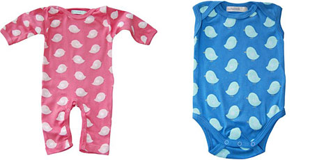 Buttermilk rompers in Cherry Pink and Marine Blue