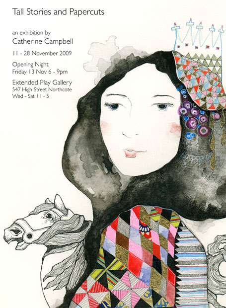 Invitation to Tall Stories and Papercuts - an exhibition of artwork by Catherine Campbell