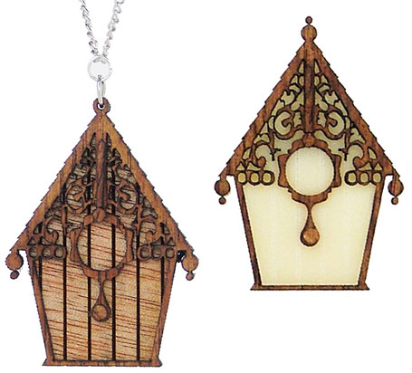 Wooden Birdhouse necklaces & brooches by love