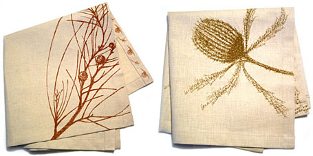 Casuarina and Banksia linen napkins by Out To Lunch