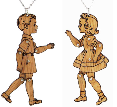 Wooden Finish - I wish I were a real boy or girl necklaces and brooches by love