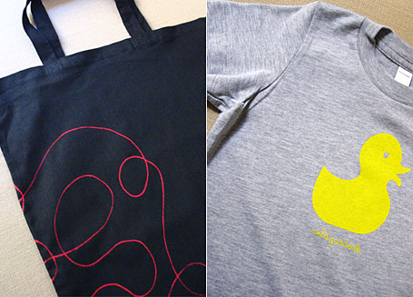 Ducky children's t-shirt and Scribble Tote Bag by Wildgarden