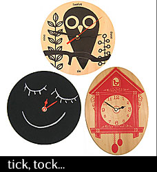 Owl clock, Blackboard DIY clock and Cuckoo clock. Made with sustainably grown Australian plywood from BLINK designs.