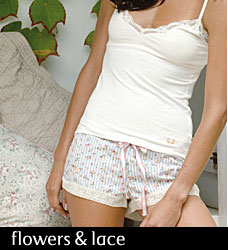 Le Matin Sleep Short 100% cotton floral stripe by Deshabille from Glamourpuss