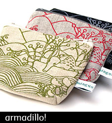Armadillo at Sea - Hemp and Organic Cotton Purse from mingus designs