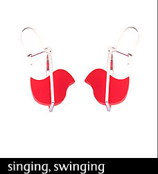 Birdee earrings (Red) by Dear D. Hand-polished Acrylic, Sterling Silver from Moose: Art for Life