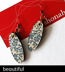 Oval - Resin, fabric and wood earrings from Shonah Jewellery Design
