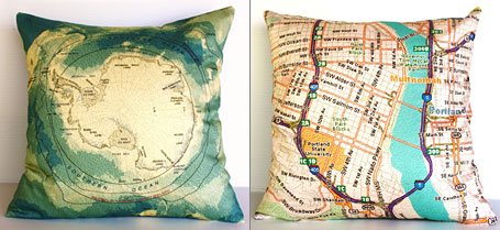 Antarctica and Portland Oregon vintage map cushions by Bearded Pigeon