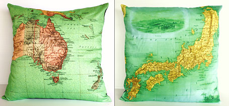Australia and Japan vintage map cushions by Bearded Pigeon
