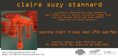 Invitation to Claire Suzy Stannard's solo exhibition 'Version 1'
