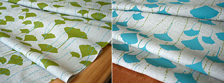 Lara Cameron Ginkgo screen printed fabrics, available from www.duckcloth.com.au