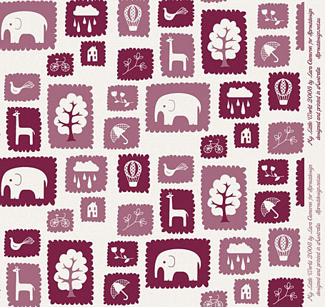 Upcoming fabric print My Little World in Plum - designed by Lara Cameron for Sprout Design