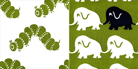 Sprout Design screen printed fabrics - Caterpillars and Elephants, available from www.duckcloth.com.au