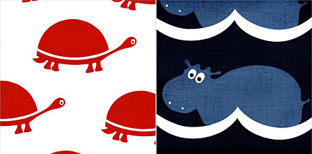 Sprout Design screen printed fabrics - Tortoises and Hippos, available from www.duckcloth.com.au