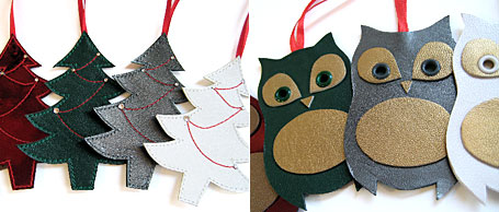 Handmade leather Christmas Tree and Owl Christmas decorations by Emma Greenwood