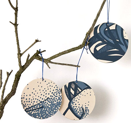 Recycled silk screened Christmas Ornaments by etsa sketch