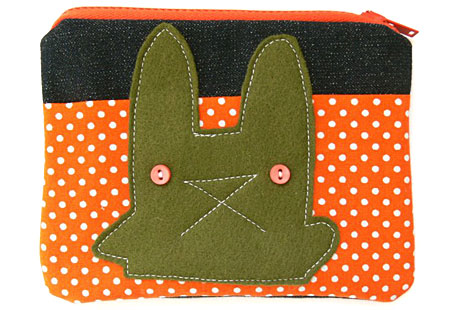 Grumpy Rabbit Spotty Coin Purse by Pocket Carnival, available from www.georgielove.com