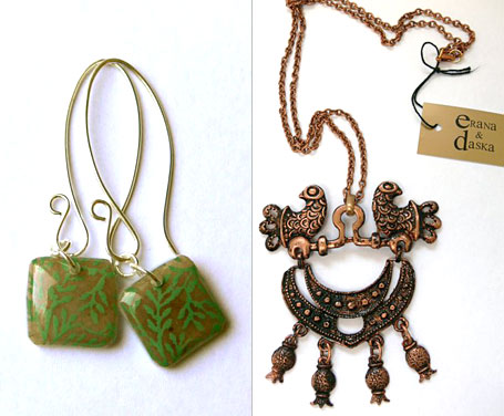 Life Aquatic Earrings by Trove and Double Dove Necklace by Erana & Daska, available from www.georgielove.com