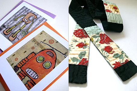 Robot Notecards by Dudley Redhead and Quilted Wrap by wife, available from www.georgielove.com