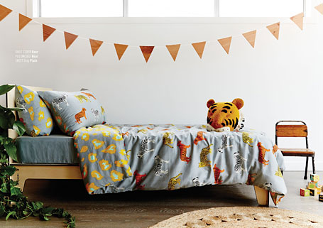 Goosebumps reversible kids Roar quilt cover, pillowcase and sheets, available from www.indie.com.au.
