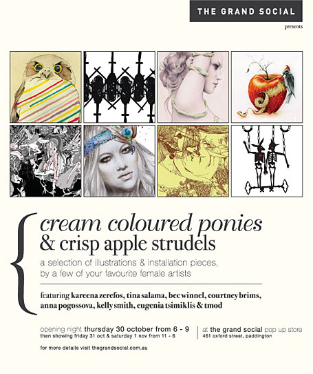 Cream Coloured Ponies & Crisp Apple Strudels exhibition flyer