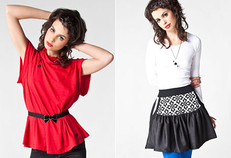 Slouch tee in red and Spades Pocket Print Skirt by Grazed Youth