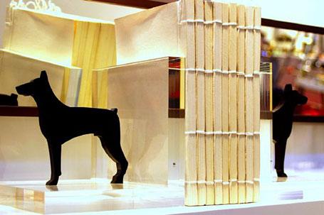 Hudo acrylic bookends featuring dobermans