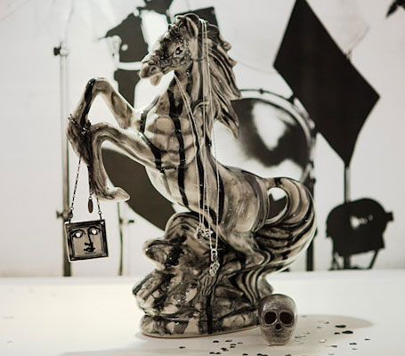 Horse Bandit Sculpture - Black Tear by Iggy & Lou Lou