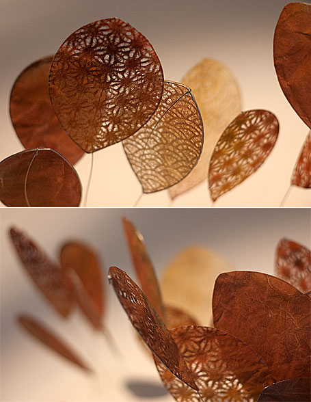 Gold painted paper & wire leaves - studio visit with Sydney-based artist Jade Oakley