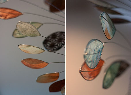 Detail of mobiles - studio visit with Sydney-based artist Jade Oakley