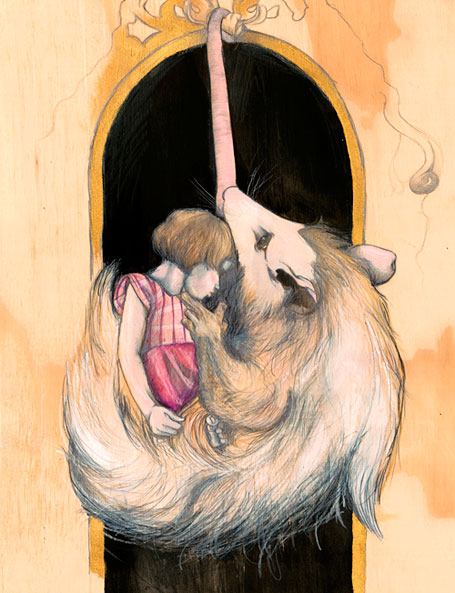 The girl and the possum - original artwork by Kareena Zerefos for Hip Pop exhibition