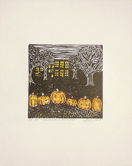 'Halloween in the Hood', an original print by Katie Muth