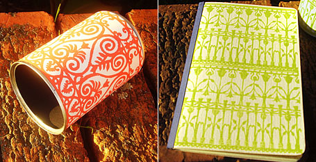 Lino printed pencil tin and notebook by Katie Muth