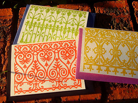 Lino printed handmade cards by Katie Muth