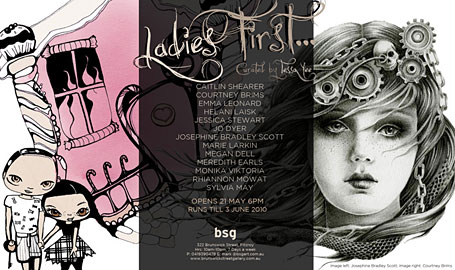 Flyer for Ladies First exhibition at Brunswick Street Galleries