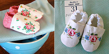 Vintage Linen Baby Shoes by Lark