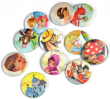 Assorted vintage storybook pocket mirrors by Lark