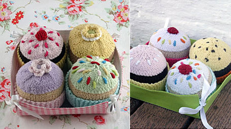 Hand-Knitted Cupcakes by Lark