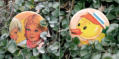 Yellow Duck and Boy & Girl Vintage Storybook Pocket Mirrors by Lark