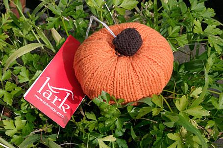 Pumpkin Hand-Knitted Veggie Rattle by Lark